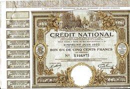 Crédit National: 6% EMPRUNT Juin 1923 - Banque & Assurance