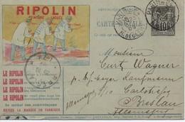 """SAGE  - 1876 / 98 -  Groupe Allégorique """" Paix Et Commerce """" Type II, N Sous U - N° 89  S / Carte RIPOLIN . - 1876-1898 Sage (Type II)"""
