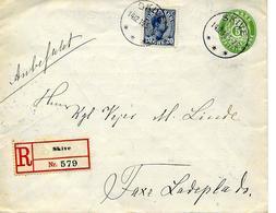 Skive Vers Faxe Ladeplads 1916 Entier Avec Publicite, Par Recommande. Voir 2 Scan - Postwaardestukken