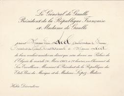 Carton D'invitation à Dîner Du Gl De Gaulle,Pt De La République à L'Elysée Lors De La Visite Du Pt Mexicain Mateos LOPEZ - Historische Documenten