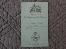 Pensionnat Des Religieuses De La Retraite -2eme Classe 3eme Cours -accessit De Sciences Phys Et Math 18/7/1908 - Diploma & School Reports