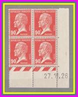 178** Pasteur - Neuf 90c Rouge - Bloc De 4 TP - Coin Daté 27.11.26 - Cote 120 € - ....-1929