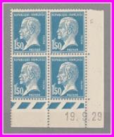 181** Pasteur - Neuf 1.50 F Bleu - Bloc De 4 TP - Coin Daté 19.9.29- Cote 100 € - ....-1929