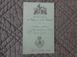 Pensionnat Des Religieuses De La Retraite-2eme Classe 3eme Cours-accessit D'histoire Sacrée 18/7/1908-marie Juvin - Diploma & School Reports