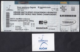 Croatia 2007 / Liebherr World Table Tennis Championships / Ticket + Voucher For Lunch - Tennis De Table