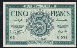 BILLET DE BANQUE ALGÉRIE 5 FRANCS 16.11.1942 N° 030 O.597  état SPL - Algerije