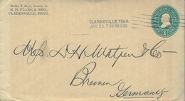 1900 , ESTADOS UNIDOS ,  SOBRE ENTERO POSTAL , CLARKSVILLE - BREMEN - Enteros Postales