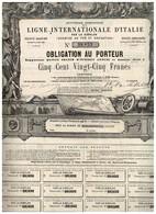 Titre Ancien - Nouvelle Compagnie De La Ligne Internationale D' Italie Par Le Simplon - Titre De 1869 - Déco - Chemin De Fer & Tramway