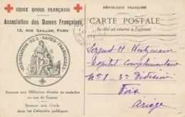 CP Illustrée CROIX-ROUGE FRANÇAISE ASSOCIATION DES DAMES DE FRANCE Rue Gaillon Paris Pour Foix Ariège - Red Cross