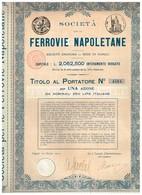 Action Ancienne - Societa Anonima Per Le Ferrovie Napoletane - Titre De 1910 - Rare - Chemin De Fer & Tramway