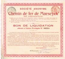 Titre Ancien - Société Anonyme Du Chemin De Fer De Maeseyck  (en Liquidation) - Titre De 1912 - Spoorwegen En Trams