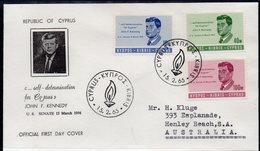 CYPRUS, 1965 PRESIDENT KENNEDY FDC - Cyprus (Republic)