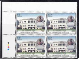 India MNH 2011, T/lL Block Of 4, La Martiniere Schools, Start By Claude Martin Lyon France Born - Blocks & Sheetlets