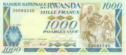 (B0150) RWANDA, 1988. 1000 Francs. P-21. UNC - Rwanda