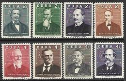 Cuba  1959   Sc#616-23   Presidents Set Of 8  MH    2016 Scott Value $5 - Unused Stamps