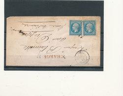 N°22 X 2  SUR LETTRE CHARGEE - 1862 Napoléon III