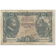 Billet, Espagne, 25 Pesetas, 1940, 1940-01-09, KM:116a, TB - [ 3] 1936-1975 : Regime Di Franco
