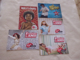 LOT DE 5 CARTES PUBLICITE VIRGIN - Cartoline