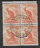 Australia, GVIR, 1938, 1/2d Orange, Walaroo, Block Of 4 Used, NORWOOD STH AUST  2 DE 38 C.d.s. - 1937-52 George VI