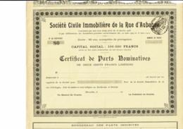 13-IMMOBILIERE DE LA RUE D'AUBAGNE. MARSEILLE. - Shareholdings