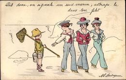 Artiste Cp Dis Dons, On Signale Un Sous Marin, Attrape Le Dans Ton Filet - Postcards