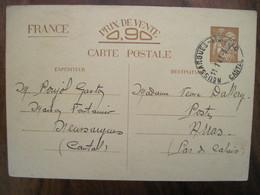 France 1941 Entier Postal Carte Postale Interzone Neussargues Cantal Arras  WW2 Occupation - Entiers Postaux