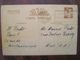 France 1941 Entier Postal Carte Postale Interzone  WW2 Occupation écrit En Allemand - Postwaardestukken