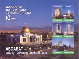 Turkmenistan 2001, 10th Anniversary Of Independence, Architecture, Block - Turkménistan