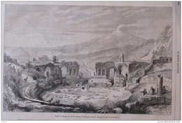 Aspect Des Ruines Du Théâtre Antique De Taormina (Sicile) - Page Original 1864 - Documents Historiques