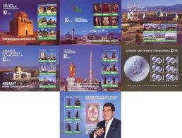 Turkmenistan 2001, 10th Anniversary Of Independence, 7 Blocks - Turkménistan