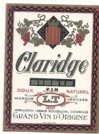 étiquette - Années 1940 .....Appelation Grand Roussillon - Claridge Vin Doux Naturel - Rouges