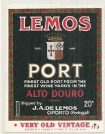 - étiquette 1940/70* - PORTO  Lemos  Alto Duro - PORT - OPORTO - Vino Tinto