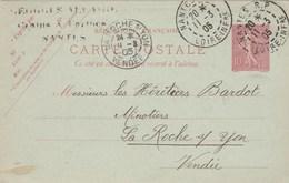 Yvert 129 CP1 Sage Date 448 Entier Entête ALLAIRE NANTES RP 11/3/1905 à La Roche Sur Yon Vendée - Postal Stamped Stationery