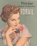 Carte Parfumée Poeme Super Brillantine Forvil Jeune Femme Avec Rose Collier De Perle - Anciennes (jusque 1960)