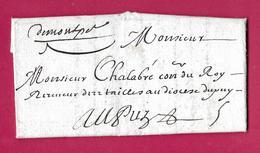 MARQUE MANUSCRIT DE MONTPELLIER 1699 LENAIN N°1 INDICE 21 LE PUY EN VALAY HAUTE LOIRE - Postmark Collection (Covers)