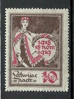 LETTLAND Latvia 1919 Michel 32 MNH Gestreiftes Papier - Lettland