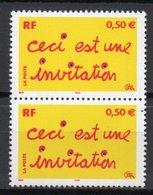 - FRANCE Variété 3618a ** - Paire 0,50 € Ceci Est Une Invitation 2004 - BANDES DE PHOSPHORE A CHEVAL - Cote 30 EUR - - Abarten Und Kuriositäten