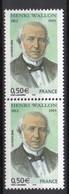 - FRANCE Variété 3711b ** - Paire 0,50 € Henri Wallon 2004 - 2 BANDES DE PHOSPHORE BRISÉES - Cote 30 EUR - - Abarten Und Kuriositäten