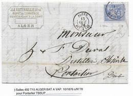 1876 - MARITIME - LETTRE De ALGER Avec CACHET BATEAU à VAPEUR => PONTARLIER - 1849-1876: Période Classique