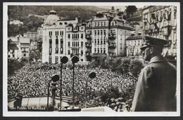 1938 - FOTOKARTE - SUDETENLAND - DER FÜHRER IN KARLSBAD - Mischfrankatur DR / Tschechoslowakei - Sudeten