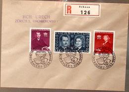 Liechtenstein 1943: Fürstenhochzeit Zu 175-177 Mi 211-213 Yv 186-188 R-Brief Mit O SCHAAN 7.MÄRZ 1943 (Zu CHF 10.00) - Liechtenstein