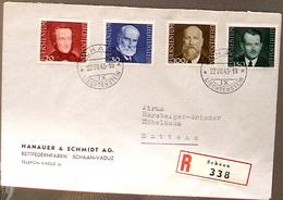 Liechtenstein 1943: Fürsten-Bilder III. Brief Mit Zu 178-181 Mi 214-217 Yv 189-192 O SCHAAN 22.VII.43 (Zu CHF 50.00) - Liechtenstein