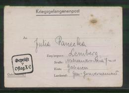 KRIEGSGEFANGENENPOST NAZI GERMANY THIRD REICH WW2 PRISONER WAR POW CAMP OFLAG XC LUBECK TO LEMBERG GG LVIV LVOV UKRAINE - Gevangenkampen