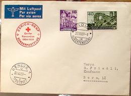 Liechtenstein 1939: Rotkreuz-Flug Zürich > Genf Ab VADUZ 28.VIII.39 Mit Zu 128+133 Mi 158+163 Yv 142+147 Nach Bern - Poste Aérienne