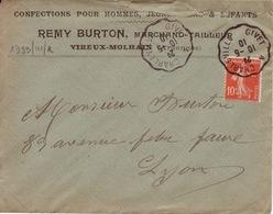 ARDENNES - Givet à Charleville - Enveloppe-CAD- Oblitération Ferroviaire-1910 - Marcophilie (Lettres)