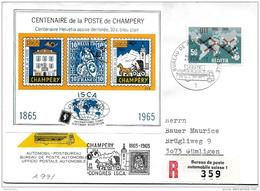 """166 - 7 - Enveloppe  Recommandée Avec Oblit Spéciale """"Congrès ISCA Champéry / Valais - Vignette 1965 - Storia Postale"""