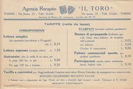 """9238-VOLANTINO AGENZIA RECAPITO """"IL TORO""""-TARIFFE CORRISPONDENZE E STAMPATI - Vecchi Documenti"""