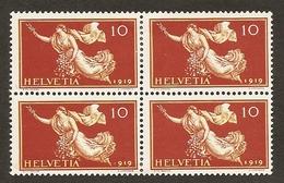 Schweiz,  1919, Zu. 144*  Pf. Jahrzahl 919, Falz Unten, Im Viererblock, Selten,  Siehe Scan! - Switzerland