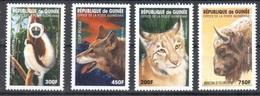 Guinee Mnh ** Set Animals  8 Euros Lynx Wolf Lemure Bison - Briefmarken