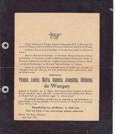 "MESSAGE DE DECES NOBLESSE ** YVONNA DE WARGNY - 1888 - 1945 ** Kasteel "" Den Berg - BLAESVELD "" - Documents Historiques"